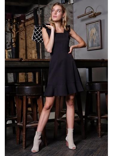 İroni Volanlı Mini Jile Elbise Siyah